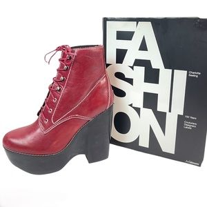 TARDY Jeffrey Campbell Burgundy Red Leather Boots